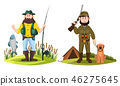 Hunter and fisherman. Hunt man and fisher with rod 46275645