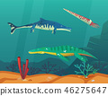 Ocean or sea with underwater dinosaurs or dino 46275647