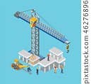 Construction Building Machines and Worker Man 46276896