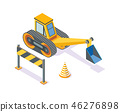 Excavator, Road Plastic Cone and Wooden Stand 46276898