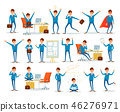 Man Busy with Work, Businessman Characters at Work 46276971