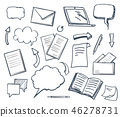 Office Paper Books and Pencil Icons Set Vector 46278731