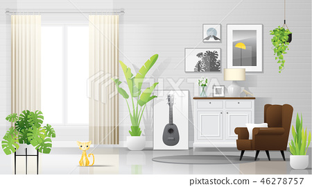 Warm and bright living room background 46278757