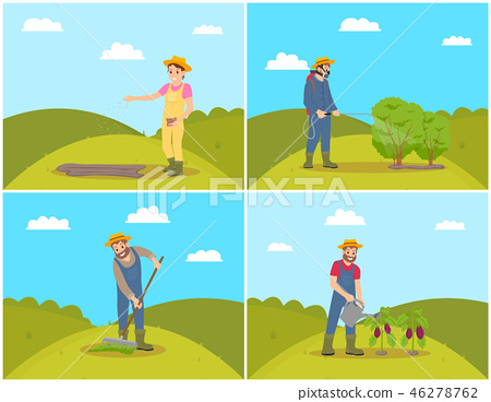 People Planting Cultivating Vector Illustration 46278762