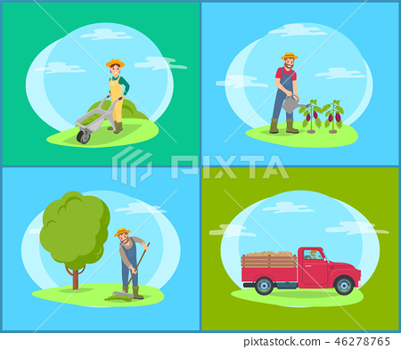 Car Lorry and People on Land Vector Illustration 46278765