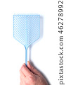 closeup of fly swatter in hand on white background 46278992