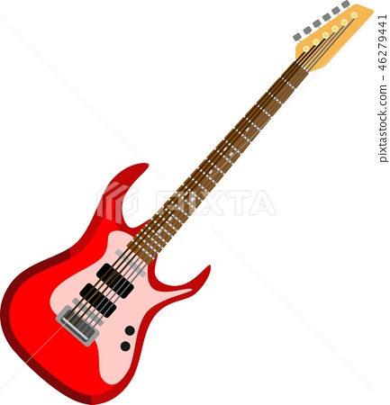 Red Electric Guitar Music Instrument 46279441