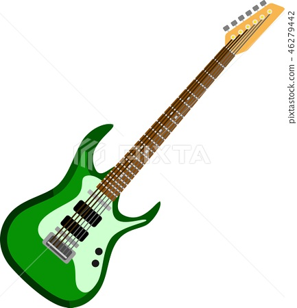 Green Electric Guitar Music Instrument 46279442