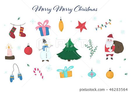 Cute colorful doodle Christmas elements set 46283564
