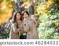 การท่องเที่ยวในฤดูใบไม้ร่วงฤดูใบไม้ร่วงใบไม้แม่ลูกสาวและภาพการเดินทางของครอบครัวเด็ก 46284033