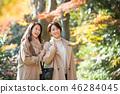 旅行秋天秋叶母亲女儿父母和儿童家庭旅行图象 46284045