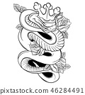 Vector illustration Snake and Rose Traditional Tattoo Art 46284491