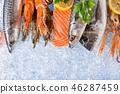 Fresh seafood on crushed ice. 46287459