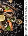 Fresh seafood on crushed ice. 46287507