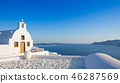 Small traditional Greek Orthodox church in Oia, Santorini 46287569