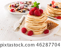 delicious pancakes on wooden table with fruits 46287704