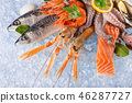 Fresh seafood on crushed ice. 46287727