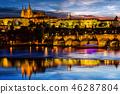 Prague Castle after sunset. Europe, Czech republic. 46287804