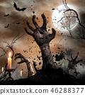 Scary Halloween background with zombie hands. 46288377