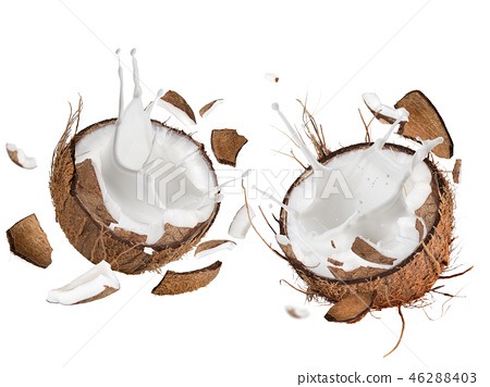 close-up of a coconuts with milk splash. 46288403