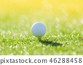 Close up of golf ball on tee 46288458