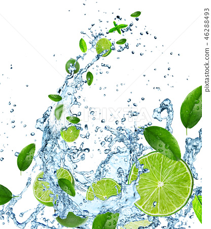 Fresh limes with water splash on white. 46288493