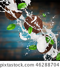 Coconuts with milk splash over wooden background. 46288704