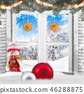 Christmas old white window with decorations. 46288875