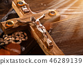 Close-up of wooden Christian cross. 46289139