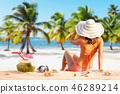 Beautiful woman in bikini at the seaside 46289214