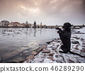 Black dog posing on bank of river Vltava in Prague. 46289290