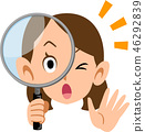 看通過放大鏡的驚奇的女性事業婦女 46292839