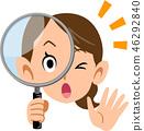 偷看通過放大鏡母親妻子的驚奇的婦女 46292840
