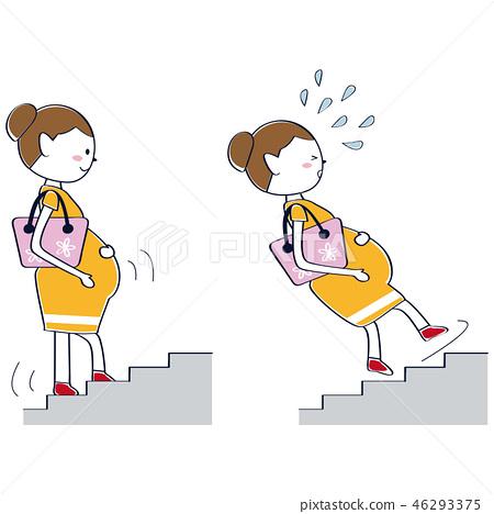 可愛的孕婦危險場景危險,因為樓梯落 46293375