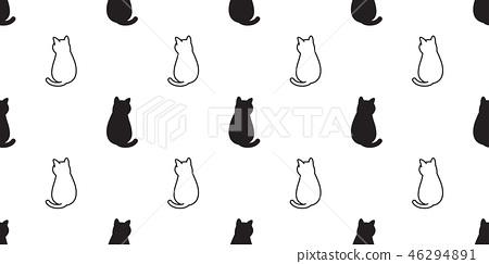 cat Seamless pattern vector kitten calico cartoon  46294891