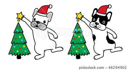 dog vector Christmas tree french bulldog Santa hat 46294902