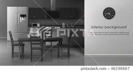 Modern kitchen interior realistic vector mockup 46296667