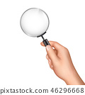 Magnifying glass in human hand realistic vector 46296668