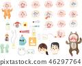 아픈 아기와 아기 용품의 일러스트 46297764