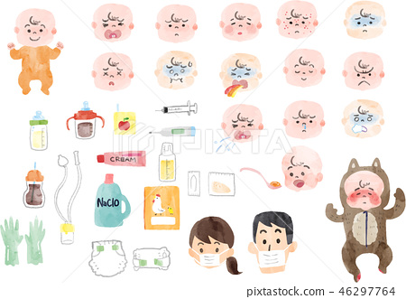 Illustration of sick baby and baby supplies 46297764