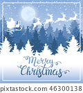 Christmas background. Santa Claus on a sled. 46300138