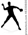 baseball silhouette player 46300600