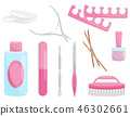 Flat vector set of manicure and pedicure tools. Professional instruments for nail care. Beauty theme 46302661