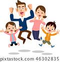 점프하는 가족 부모 형제 행복 46302835