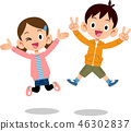 跳躍兒童兄弟男女 46302837
