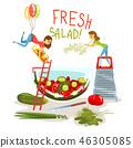 salad, healthy, vegetable 46305085