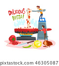 Delicious pasta, little people cooking traditional Italian pasta, design element for banner, poster 46305087