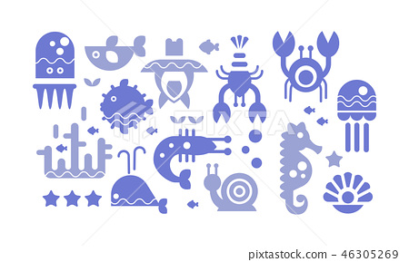 Marine life blue icons set, cute sea creatures, underwater world vector Illustration 46305269