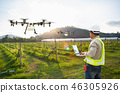 Farmer use computer control agriculture drone  46305926