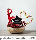 christmas ornaments and text seasons greetings 46307091